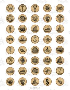 Nautical collage sheet 1 inch circle vintage by LuluDesignArt