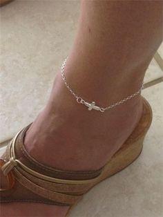 Custom Sideways Cross anklet $45