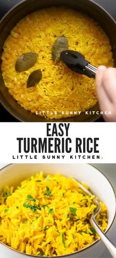 Add color to your meals with this vibrant yellow turmeric rice! It's easy and quick to make, and goes so well with curries, grilling recipes, and chicken dinners. A beautiful and healthy side dish for any meal. Curry Side Dishes, Indian Side Dishes, Side Dishes For Chicken, Rice Side Dishes, Dinner Side Dishes, Healthy Side Dishes, Side Dishes Easy, Side Dish Recipes, Curry Recipes
