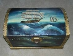 sea storaGe trunk | Details about Sailers/ocean Wood Storage Trunk / Wooden Hope Chest ...