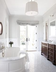 Dream master bathroom with marble floors