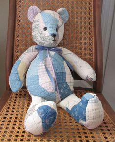 Handmade Teddy Bear Upcycled from Vintage Bowtie Quilt Rustic Shabby Chic | eBay