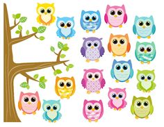 Cute Owls Bright Eyes Repositionable Removable by KewlWallStickers
