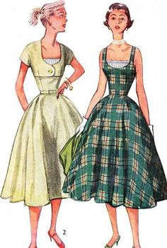 1950s Pretty Dress and Short Jacket Pattern Simplicity 3886 Full Skirt Dress With Vestee Insert Figure Flattering Design Bust 32 Vintage Sewing Pattern