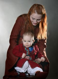 young heir by Antalika on DeviantArt.  Photographer - Catherine Corso. On mum (Antalika) - dress stylized 12th century, in the style of the North (Game of Thrones). cloth On the kid (Miroslav) - trousers, shirt, coat, booties - hand-stitched, Viking Age