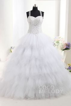 Pretty Princess Halter Basque Train Tulle Sleeveless Lace Up-Corset Wedding Dress with Beading h2db0085