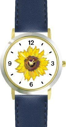 Sun Flower or Sunflower - WATCHBUDDY® DELUXE TWO-TONE THEME WATCH - Arabic Numbers - Blue Leather Strap-Children's Size-Small ( Boy's Size & Girl's Size ) WatchBuddy. $49.95. Save 38%!