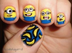 let's quickly talk about our today's post which is dedicated to minions again, scroll down to get the glare at awesome minion nail art designs, ideas, trends & stickers of Nail Art Designs, Nail Polish Designs, Cute Nails, Pretty Nails, Funky Nails, Hair And Nails, My Nails, Minion Nail Art, Yellow Minion