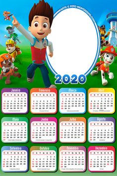 Calendário 2020 Patrulha Canina Fundo Transparente | Imagem Legal Diy Calendar, Photo Calendar, Calendar 2018, Calendar Design, Photomontage, Imprimibles Paw Patrol, Photo Frames For Kids, Photo Frame Design, Easy Easter Crafts