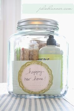 housewarming gift in a jar - some basic cleaning supplies make a pleasing and thoughtful gift when presented so nicely!