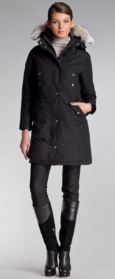 Women's winter down coat, 725 fill power. It offers a creative take on a classic design. Arctic Bay - Made in Canada. Down Coat, Fur Trim, Arctic, Rib Knit, Parka, Gray Color, Charlotte, Cute Outfits, Canada