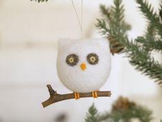 Felt Christmas Ornament Owl Needle Felted Wool by Fairyfolk