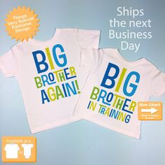 2cf7a573a4 Set of Two, Boys Sibling Big Brother Again and Big Brother In Training Tee  Shirts, Pregnancy Announcement 05212015d