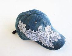 Embellished Baseball CapWomen's CapBaseball by knitwit321 on Etsy, $19.95