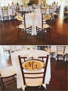 cute rustic mr. and mrs. sign chair signs #weddingsigns #rusticwedding #weddingchicks http://www.weddingchicks.com/2014/01/07/lace-and-burlap-wedding/
