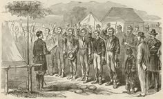 Scenes of the Civil War, Confederate prisoners of war take an oath of allegiance to the United ...