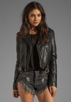 BLK DNM Cropped Motorcycle Jacket with Beading Detail in Black. I love LOVE love everything about this!!