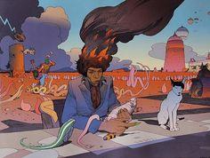 Moebius (Jean Giraud) - portraits of Jimi Hendrix
