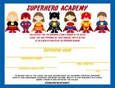 Superhero - certificate awarded after kids complete activities (Elegant Affairs)