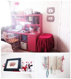 Sarah's room: Pink desk and hutch, collectibles on display, and a homemade jewelry organizer