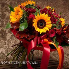 bukiet okolicznościowy słonecznik róża czerwony urodzinowy
