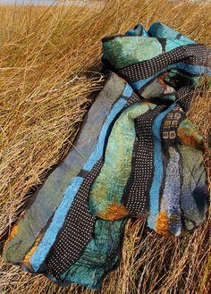 Nuno Scarf with Polka Dots & Holes Beth Burns Nuno Felt Scarf, Felted Scarf, Needle Felting Tutorials, Diy Scarf, Textile Fiber Art, Textiles, Nuno Felting, Felt Fabric, Felt Art