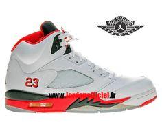 check out 9d7ce 74c11 Air Jordan 5 Retro - Chaussures Baskets Offciel Pas Cher Pour Homme Feu  rouge langue noire
