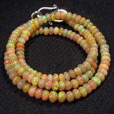 40ct 17 Natural Rainbow Firing Real Ethiopian Opal Gemstones Beads Necklace   eBay