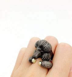 Black Poodle dog 2 Piece Ring Set - PUERLLA