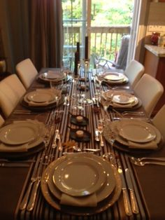 Thanksgiving Dinner at Home, Driftwood linen, Urban Multi Stripe Runner, Oatmeal Napkin. Gold Line China, Regency Silver Flatware   Chair-man Mills