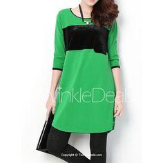 Trendy 3/4 Sleeve Round Collar Buttons Design Pullover Women's Dress