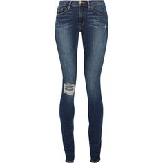 Frame Denim Forever Karlie mid-rise skinny jeans ($390) ❤ liked on Polyvore featuring jeans, pants, bottoms, pantalones, skinny jeans, dark blue, tall skinny jeans, distressed jeans, destroyed skinny jeans and torn jeans