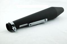 Universal Black Long Hooligan Style Megaphone Silencer #caferacer