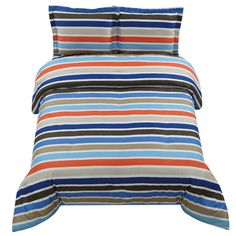 For a quick change in the bedroom, introduce the Fisher Stripe Comforter set into your decor and add a quick splash of color. #bold #classic #stripes #comforterset #bedding