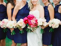 Real wedding | LulaKate navy dresses via @caratsandcake | Available to rent on vowtobechic.com