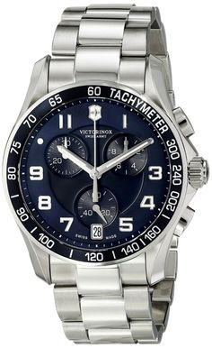 Men watches : Victorinox Men's 241497 Chrono Classic Analog Display Swiss Quartz Silver Watch