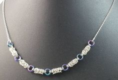 Trizantine Chainmaille Necklace Sterling Silver and Niobium