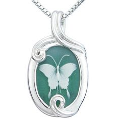 "Sterling Silver Green Agate Butterfly Cameo Pendant Necklace, 18"" Amazon Curated Collection, http://www.amazon.com/dp/B005OEDOAU/ref=cm_sw_r_pi_dp_0SEOqb001AW3Y"