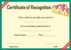 Certificate Of Recognition Preschool  Certificate Of Recognition