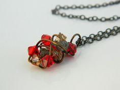 Swarovski Crystal Pendant  Necklace  Red Brown Colorado by gabeadz