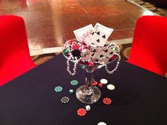 Martini glass centerpiece for casino theme party