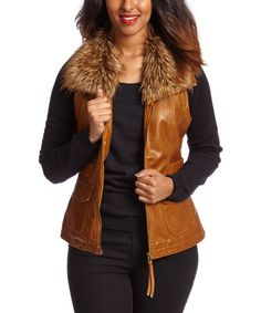 Love this Cognac Faux Fur Vest by Live A Little on #zulily! #zulilyfinds