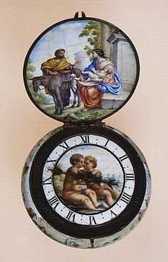 Watchmaker:  Jacques Goullons (1626-1671) - Case And Dial: Painted Enamel On Gold; Movement: Gilded Brass And Steel Partly Blued - Probably French, Paris  c.1645-1650