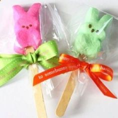 Peeps on a stick. Cute Easter Idea @ decorating-by-day