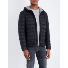 BELSTAFF Hooded quilted jacket (28.770 RUB) ❤ liked on Polyvore featuring men's fashion, men's clothing, men's outerwear, men's jackets, mens quilted nylon jacket, mens hooded jackets, mens short sleeve jacket, mens zip jacket and belstaff mens jackets