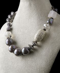 chunky necklace with Kazuri beads, crystal and silver beads via Karibu Beads.