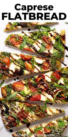 This vegetarian Caprese flatbread takes just minutes to throw together and includes homemade spinach pesto, fresh mozzarella cheese, and ripe tomatoes. Flatbread Appetizers, Easy Flatbread Recipes, Flatbread Pizza, Pizza Recipes, Chicken Recipes, Quick Vegetarian Dinner, Vegetarian Recipes, Pasta Dishes, Food Dishes