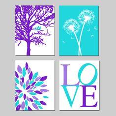 Purple Aqua Baby Girl Nursery Art Quad - Birds in a Tree, LOVE, Abstract Floral, Dandelions - Set of Four Prints or Canvas Art for Nursery Nursery Art, Girl Nursery, Girls Bedroom, Nursery Decor, Nursery Ideas, Bedroom Ideas, Bedrooms, Mini Tela, Big Girl Rooms
