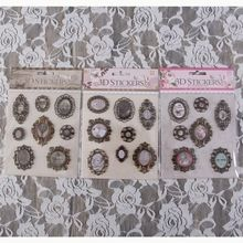 Vintage Deocrative 3D Adhesive Metal Stickers for DIY Gift/Photo Album /Scrapbooking Paper Craft Supplies Wedding Deco 3sets/lot(China)
