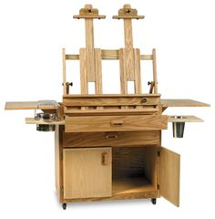 The Best Caitlin Taboret and Easel combines beauty and functionality in one unique, finely crafted artists' workstation. It features a fully functional easel plus lots of built-in storage in the taboret, all in a relatively small footprint. Art Studio Storage, Art Studio Organization, Art Storage, Art Studio Design, My Art Studio, Studio Room, Dream Studio, Paint Studio, Studio Ideas